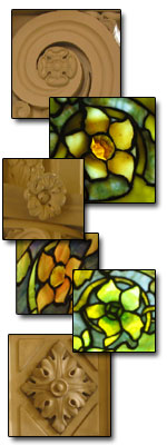 Samples of five-petal flower motif in stained glass windows and stone carvings